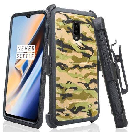 Compatible for OnePlus 6T Case, Shockproof Phone Cover with Belt Clip Holster & Built-in Screen Protector Full Coverage Protector - Military