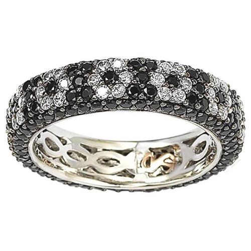 Suzy Levian Sterling Silver Cubic Zirconia Black and White Flower Eternity Band Size 9