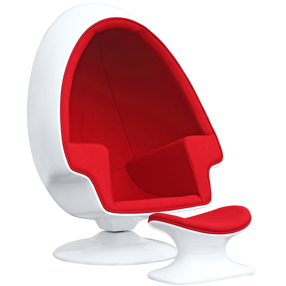 Fine Mod Imports Alpha Egg Chair and Ottoman, Red