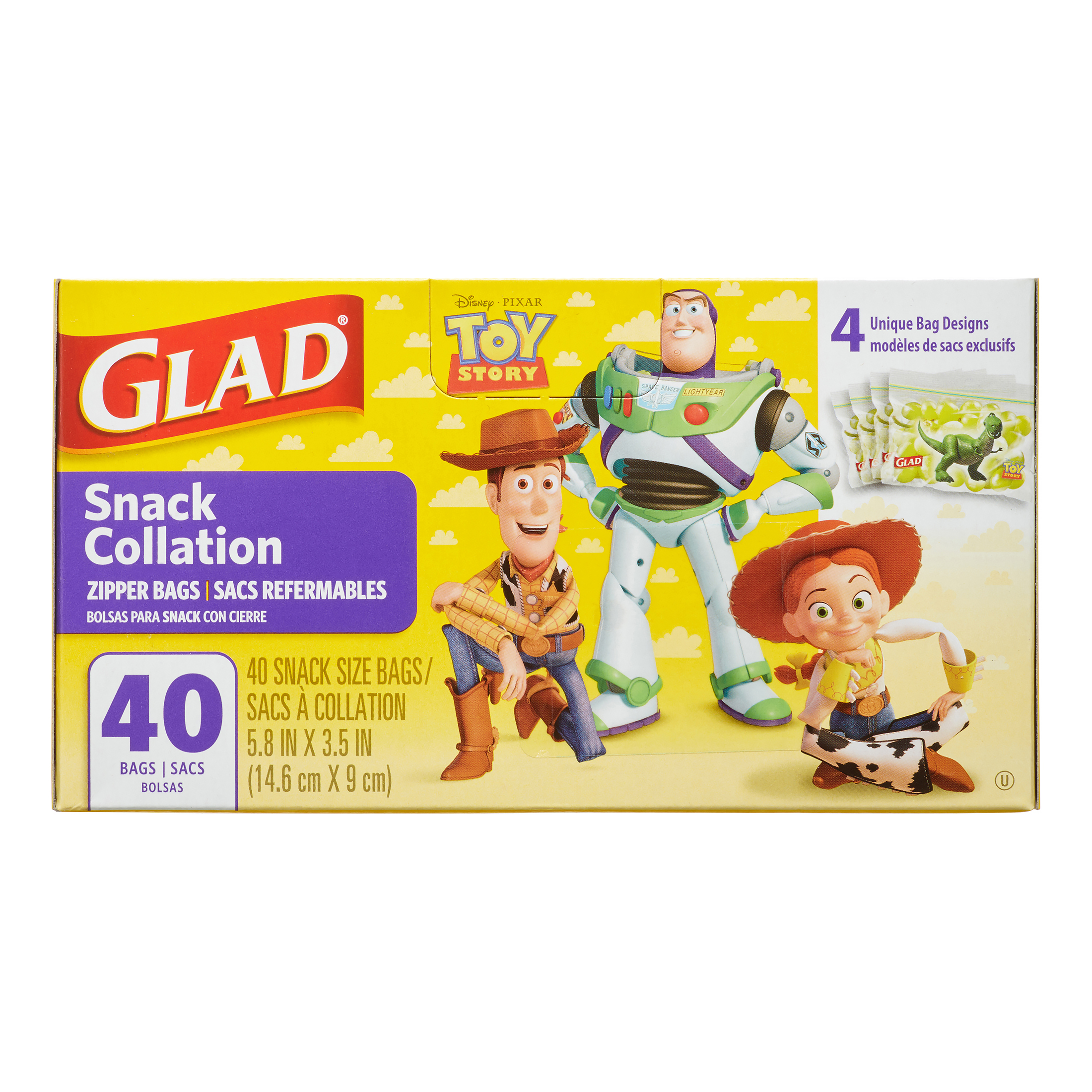 Glad Toy Story Zipper, Snack Bags, 40 Ct