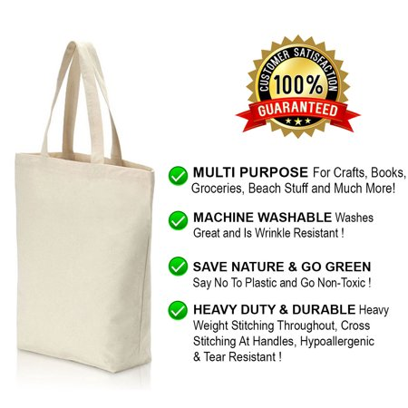 Natural Canvas Tote Bags Craft - Heavy Duty and Strong Large Natural Canvas Tote Bags with Bottom Gusset (6 Pack + other sizes) for Crafts, Shopping, Groceries, Books, Welcome Bag, Diaper Bag, Beach, and Much More! -6 Pack- (15x14x4)