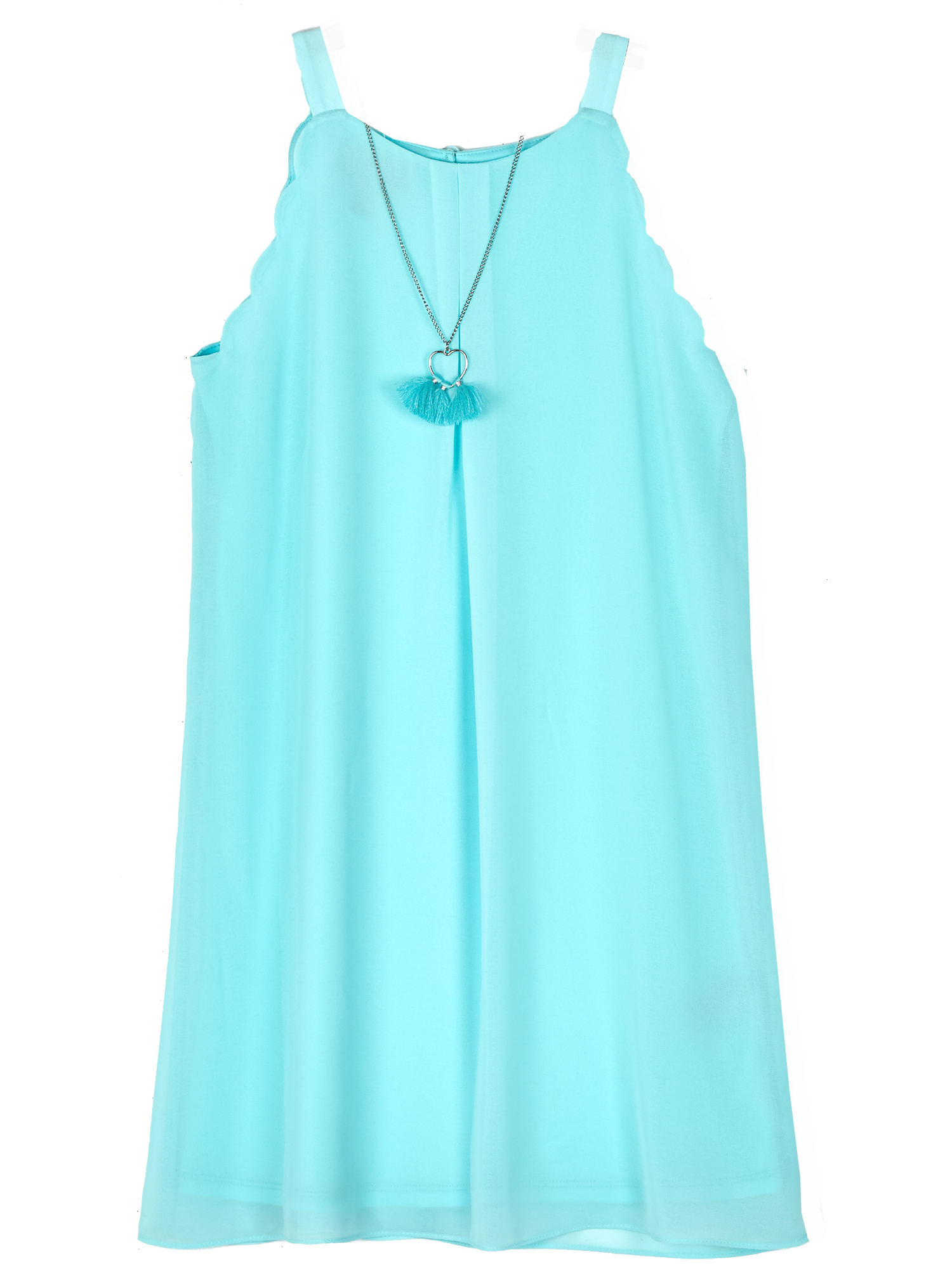 Scallop Edge A-line Dress with Necklace (Big Girls)