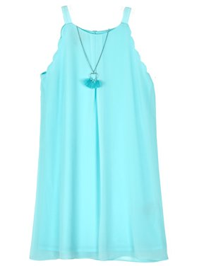 b4739c370e0 Product Image Scallop Edge A-line Dress with Necklace (Big Girls)