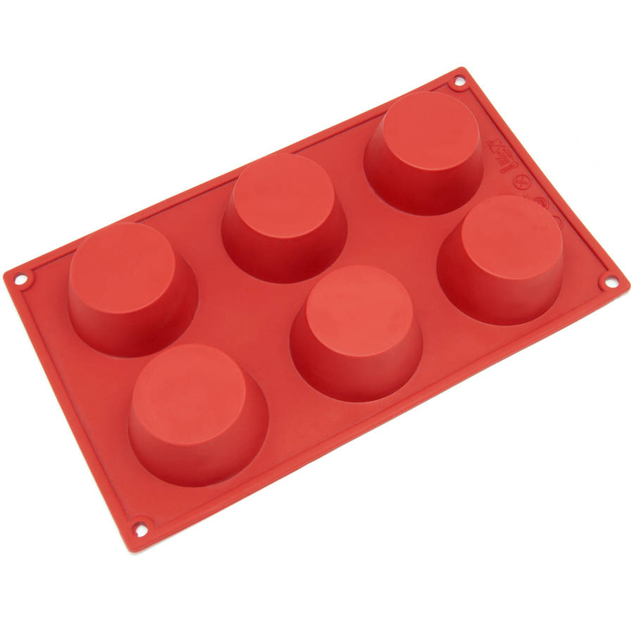 Freshware 6-Cavity Muffin Silicone Mold for Cupcake, Bread, Brownie, Cheesecake and Cornbread, SL-106RD