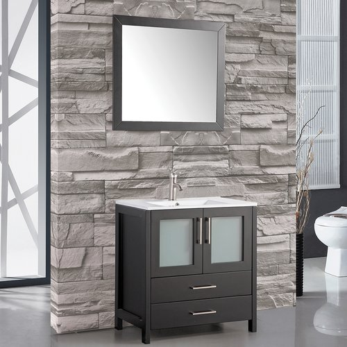 MTD Vanities Argentina 30'' Single Sink Bathroom Vanity Set with Mirror