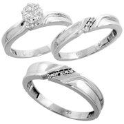 10k white gold diamond trio engagement wedding ring set for him and her 3 piece - Wedding Ring Set For Her