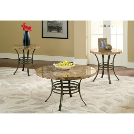 steve silver collison round faux marble coffee table set