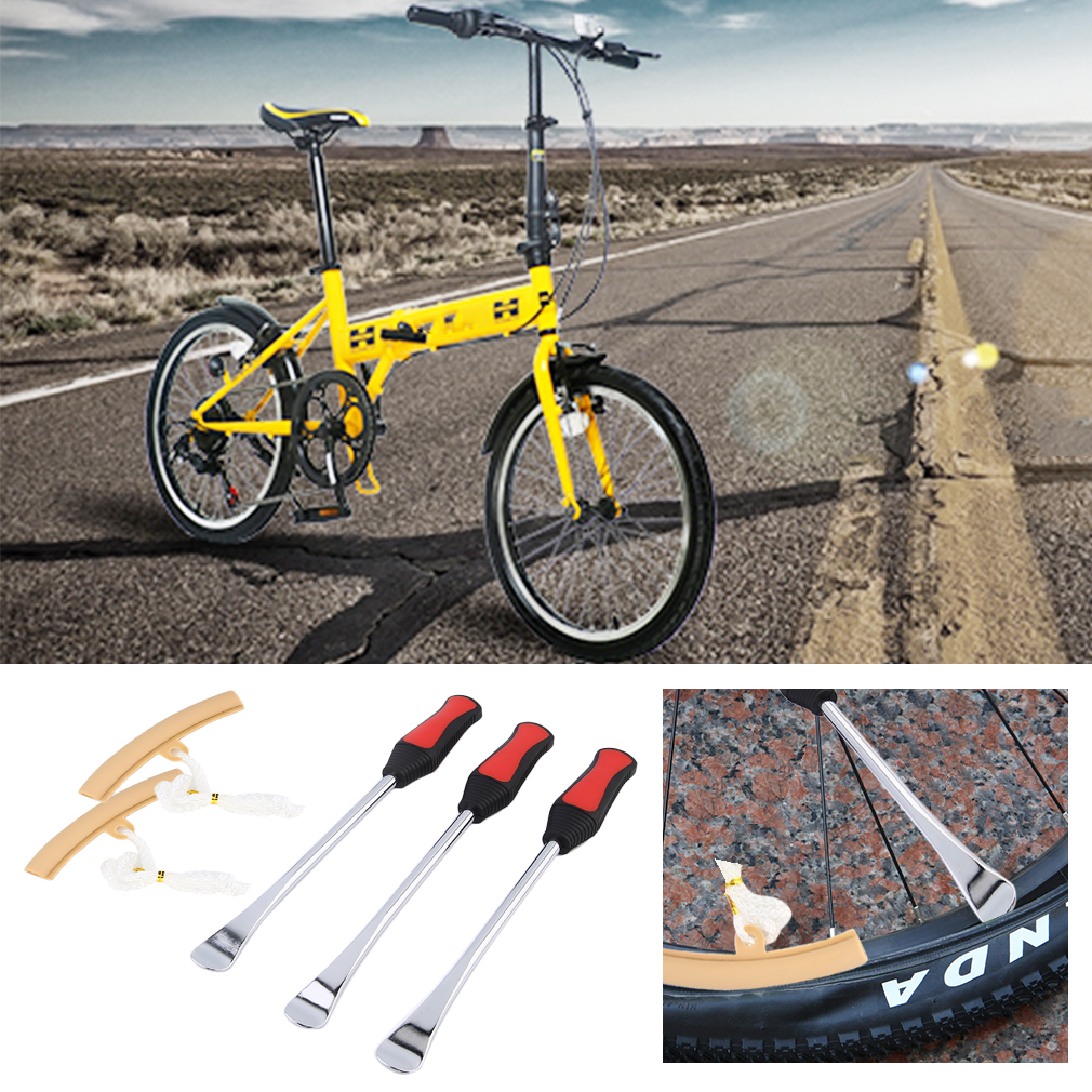 3 PCS Spoon Motorcycle Tire Iron Changing + 2 PCS Beige Rim Protector Tool Combo Lever Set