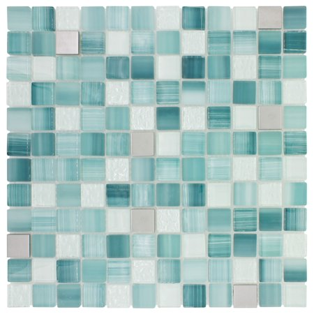 MTO0282 Hand Painted 1X1 Squares Blue Gray White Glossy Glass Metal Mosaic Tile