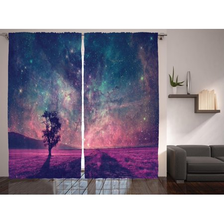 Galaxy And Lonely Tree Artwork Living Room Curtains Panels Set