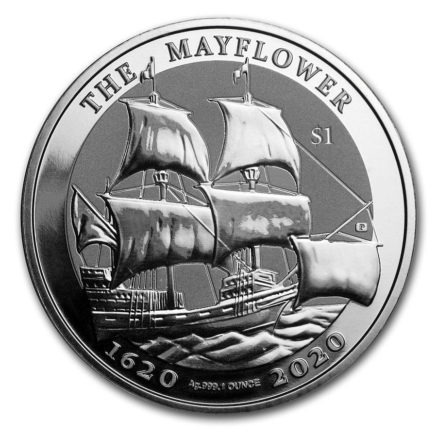 2020 1 oz .999 Silver BVI Mayflower 400th Anniversary PU PCGS MS69