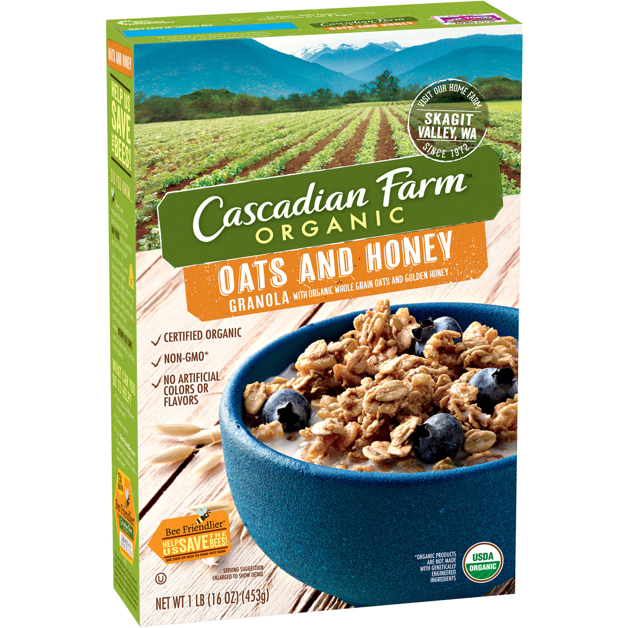 Cascadian Farm Organic Oats and Honey Granola, 16 oz