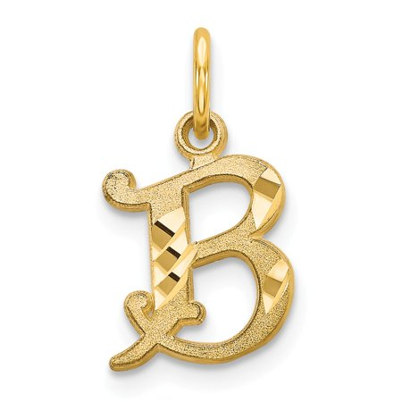 Solid 14k Yellow Gold Initial B Pendant Charm (10mm x (Gold Slide Charm)