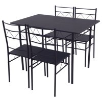 GHP Black Metal Tube MDF Dining Table & 4-Pcs 220-Lbs Capacity Dining Chairs Set