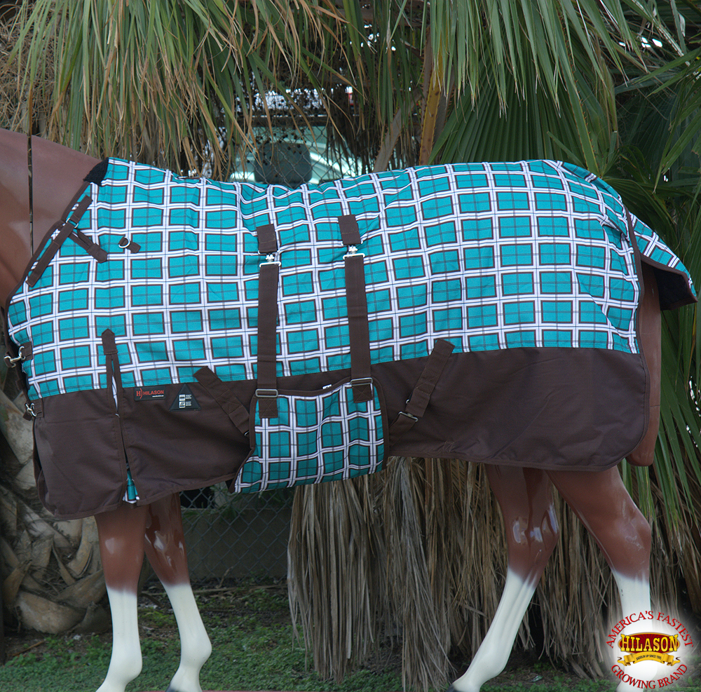 "66"" HILASON 1200D WINTER WATERPROOF HORSE BLANKET BELLY WRAP TURQUOISE PLAID"
