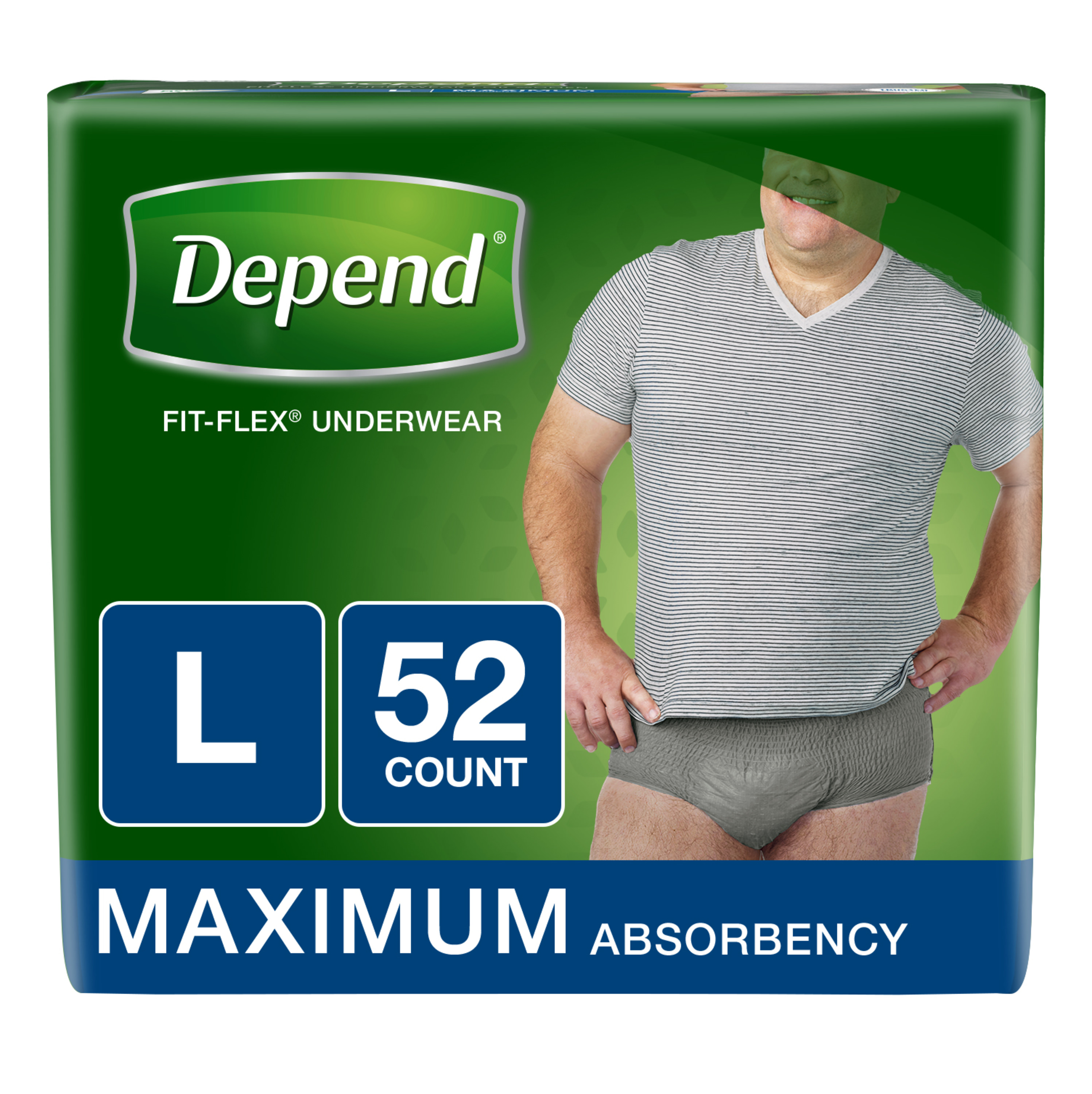 Depend FIT-FLEX Incontinence Underwear for Men, Maximum Absorbency, L, Gray 52 ct