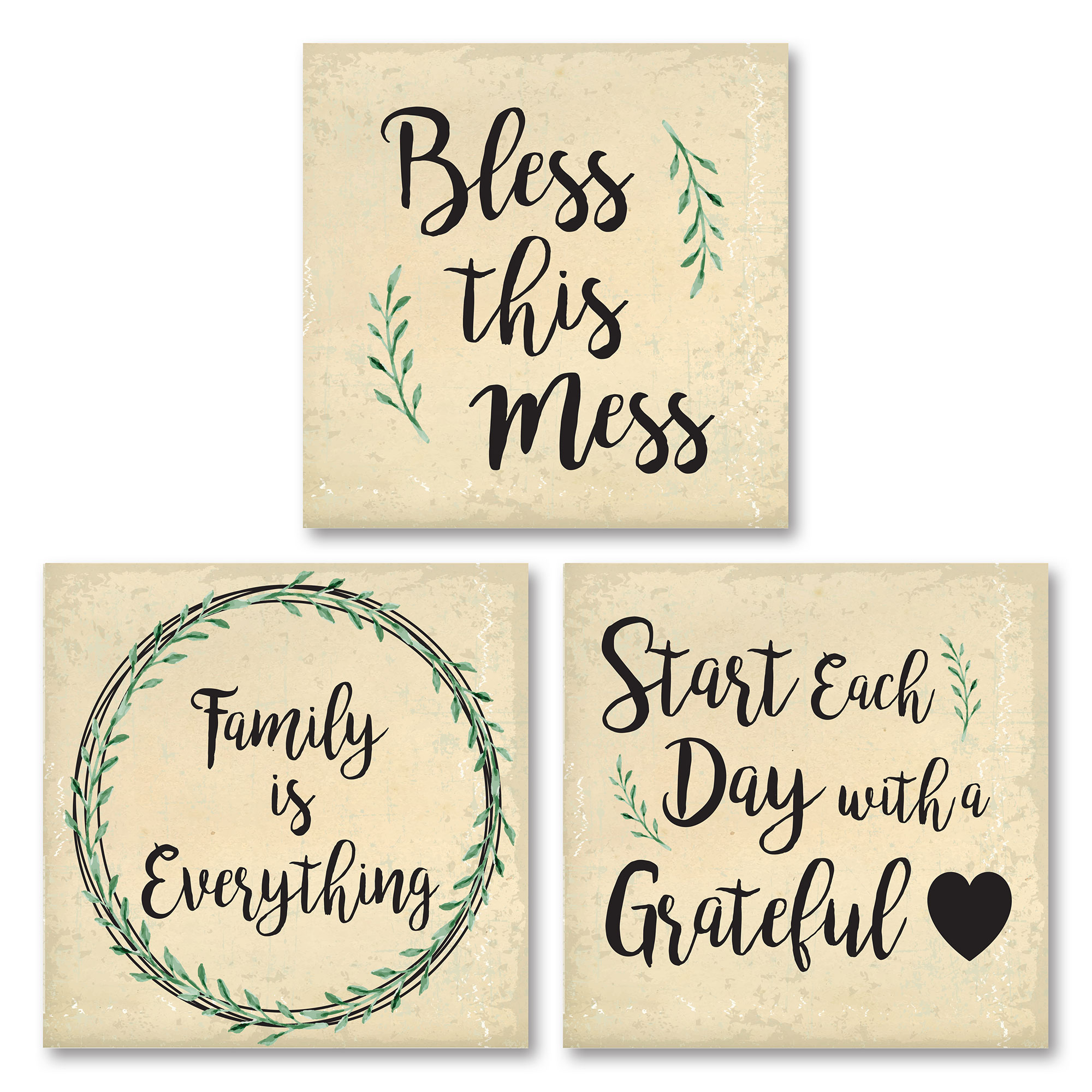 "Lovely ""Bless This Mess,"" ""Family Is Everything,"" and ""Start Each Day With A Grateful Heart"" Set; Three 12x12in Unframed Paper Posters"