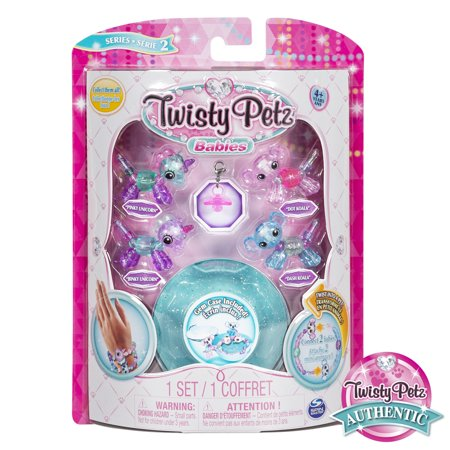 Ptz Series - Twisty Petz, Series 2 Babies 4 Pack, Unicorns & Koalas Collectible Bracelet & Case (Blue) for Kids