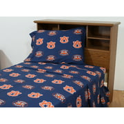 Auburn Tigers 100% cotton, 4 piece sheet set - flat sheet, fitted sheet, 2 pillow cases, Queen, Team Colors