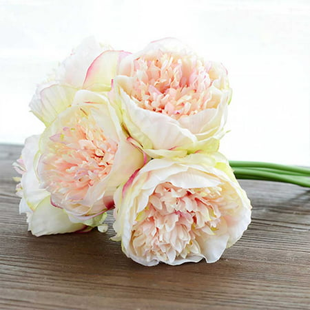 European-style artificial flower hand tied five branch peony wedding hand-held floral fake flower living room indoor shopping mall decoration Champagne