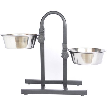 Iconic Pet Adjustable Stainless Steel Pet Double Diner For Dog (U Design), 5 Qt, 160 Oz, 20 Cup