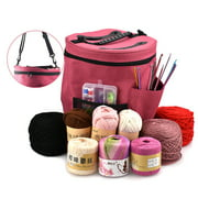 LNKOO Organizer Bag for Knitting Projects, Large Tote Bag for Storage Yarn Supplies, Organizer Tote for Weave Tools Crochet Accessories Needles/Hooks, Lightweight Holder with Adjustable Strap