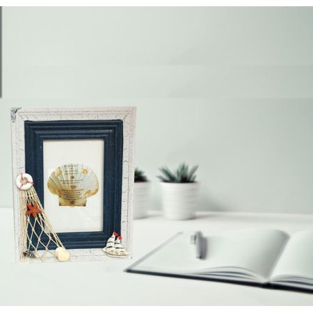 """Wood Frame with Nautical Sea Shell Photo Frame (4"""" x 6"""" picture); Product Size: 7x9x1. Great for desk-top photo display with a lot of good memory"""