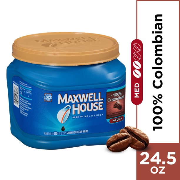 Maxwell House Medium Roast 100% Colombian Ground Coffee, 24.5 oz Canister
