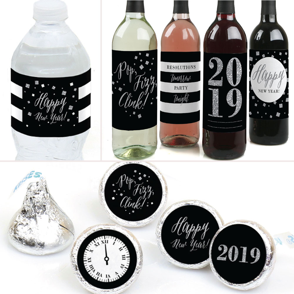 New Year's Eve - Silver - 2019 New Years Eve Party Decorations & Favors Kit - Wine, Water and Candy Labels Trio Stickers