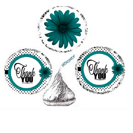 216ct Teal Thank You Party Favor Hersheys Kisses Candy Decoration Stickers / - Thank You Decorations
