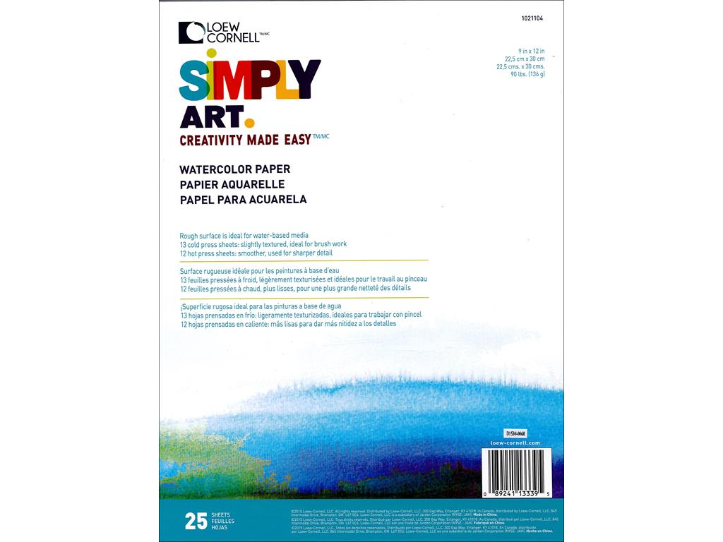 Loew Cornell Simply Art Watercolor Paper Pad 25sht by Loew-Cornell Inc