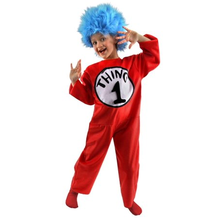 Dr. Seuss Thing 1&2 Kids Deluxe Costume Jumpsuit and Wig Small 4-6 - image 1 de 1