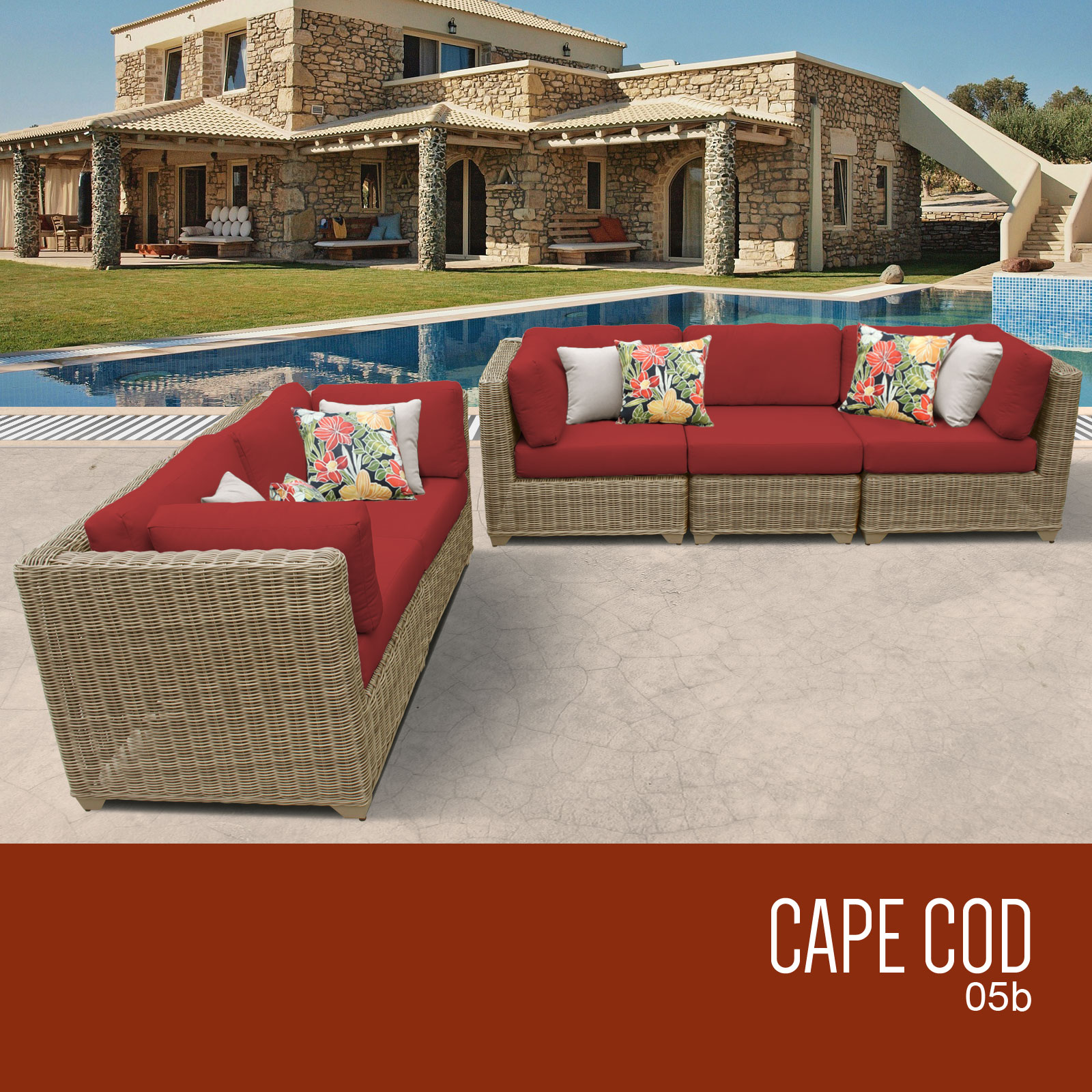 Cape Cod 5 Piece Outdoor Wicker Patio Furniture Set 05b Color Terracotta Walmart Com Walmart Com