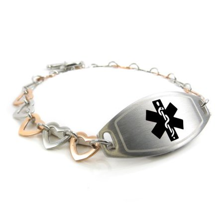 extra proper engraved hemophilia provided alert hearts tools myiddr womens adjusted can bracelet be steel ip also black rose are links with medical pre