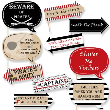 Funny Beware of Pirates - Pirate Birthday Party Photo Booth Props Kit - 10 Piece - Pirate Birthday Party