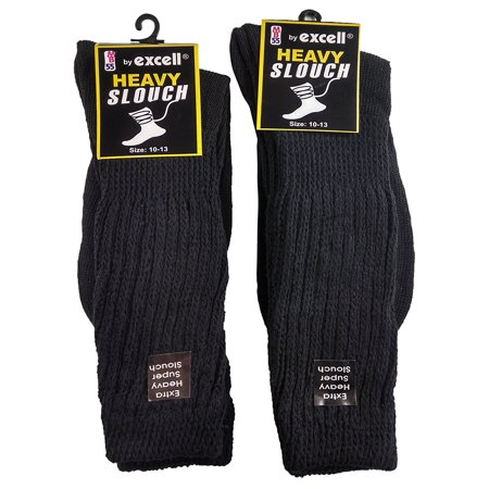 6 Pairs of Excell Men's Super Slouch Socks, Cotton Blend, Black, Sock Size - 80s Slouch Socks