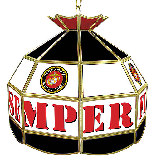 """Trademark Global United States Marine Corps 16"""" Stained Glass Tiffany Lamp Light Fixture"""