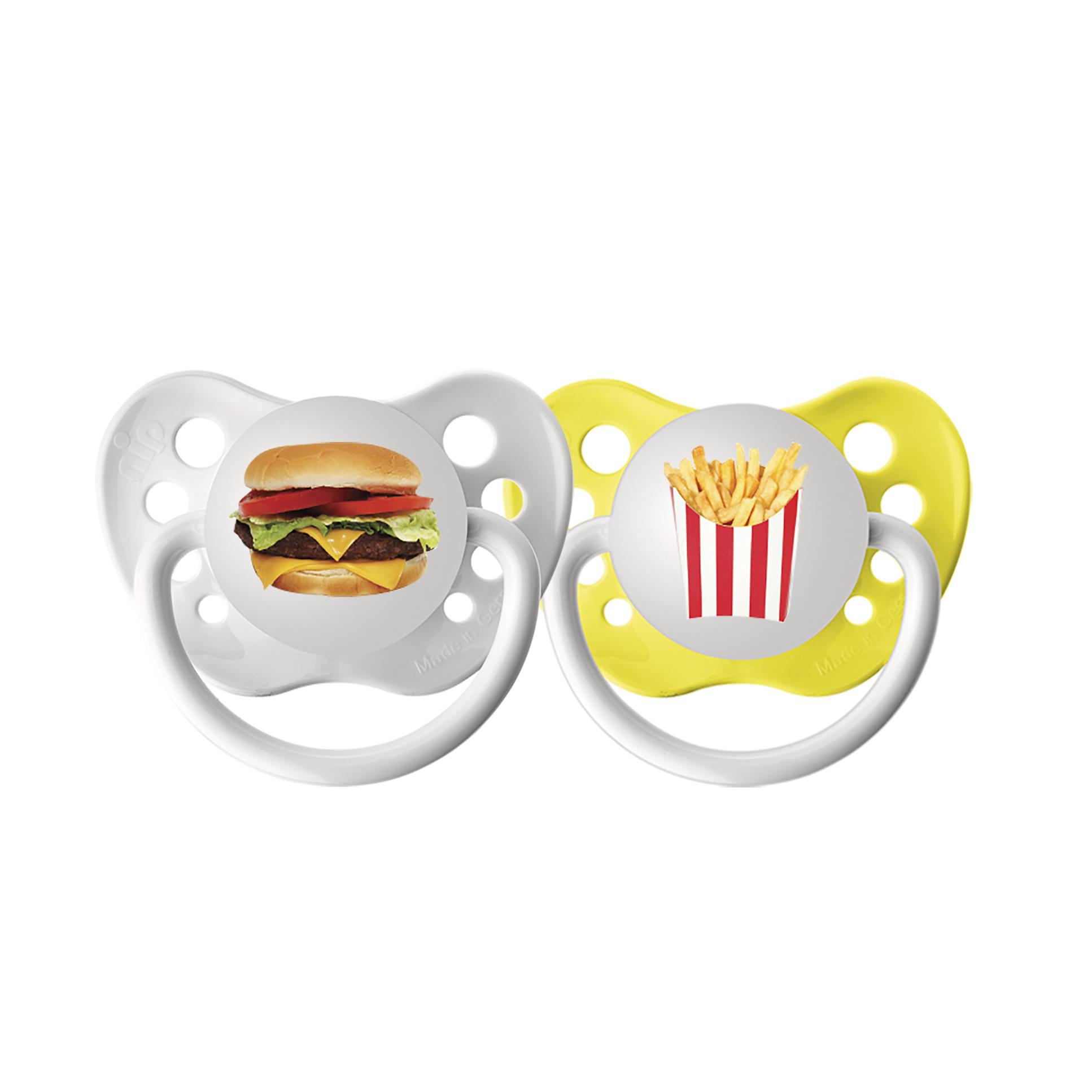 Ulubulu Burger/Fries Pacifiers, 6-18 Months, 2-Pack