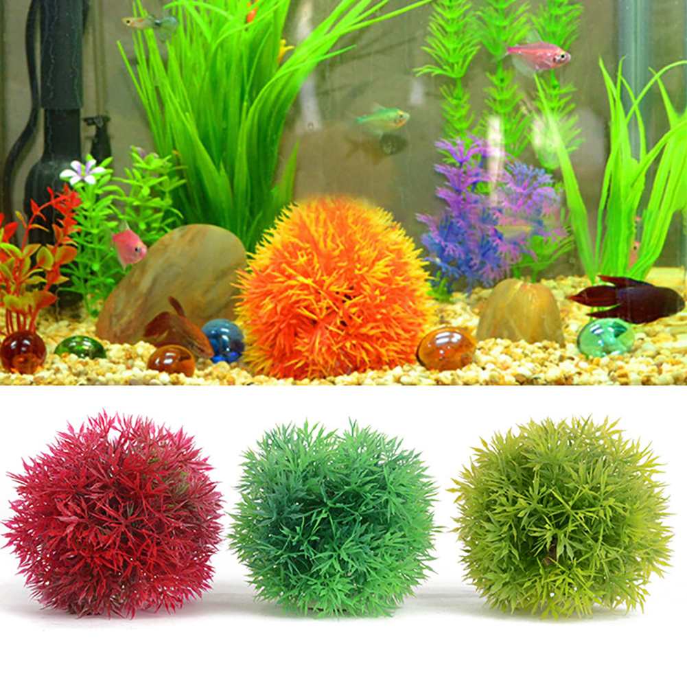 Heepo Aquarium Round Artificial Grass Ball Plastic Green Water Plant Fish Tank Decor