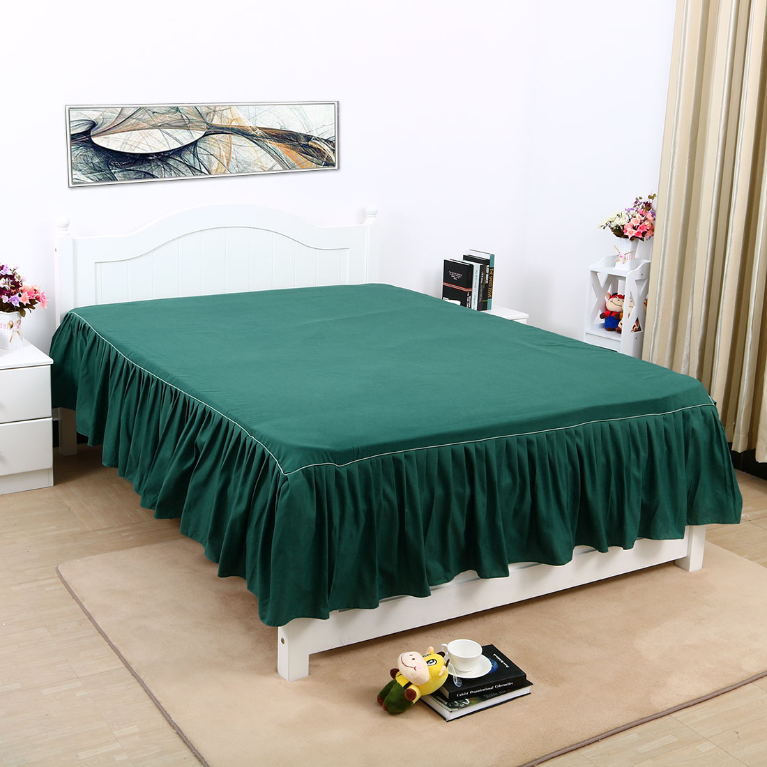 Bedskirt Solid Polyester Bed Dust Ruffle 3 Sided Coverage Queen King Tiwn Full by