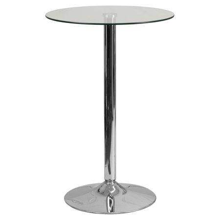 Flash Furniture 23.5'' Round Glass Table with 35.5''H Chrome Base ()