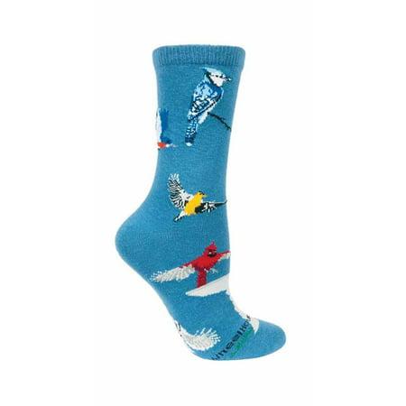 Backyard Birds Blue Cotton Ladies Socks (Garden Birds Socks)
