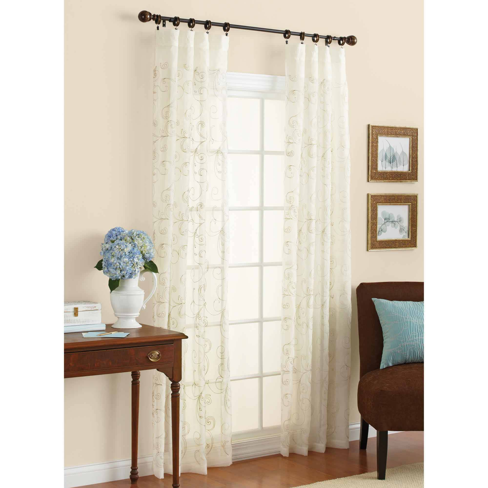 Better Homes and Gardens Embroidered Sheer Curtain Panel by