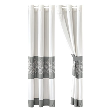 4-Piece Bradshaw Curtain Set Drape Sheer Liner|Royal Floral Damask Scroll Embroidery Stripe|White Gray|Grommet