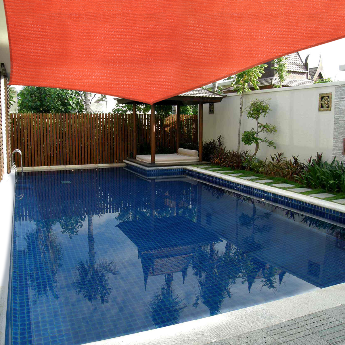 JAXPETY Sun Shade Sail Permeable Rectangle Square Outdoor Patio Deck Pool  Canopy 20\' x 16\', Red