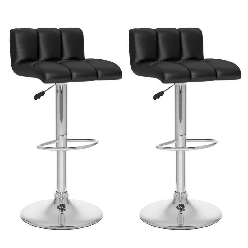 "Sonax Corliving 33"" Low Back Bar Stool in Black (Set of 2)"