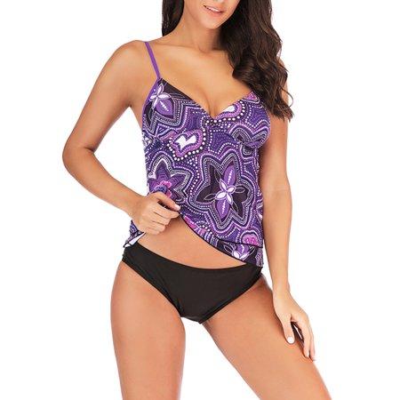 - Women's Floral Two Piece Plus Size Tankini Spaghetti Strap Swimsuit Hatler Swimwear Beach Wear Bathing Suit Tops