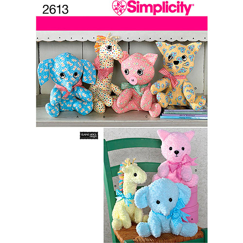 Simplicity Pattern Stuffed Animals, One Size