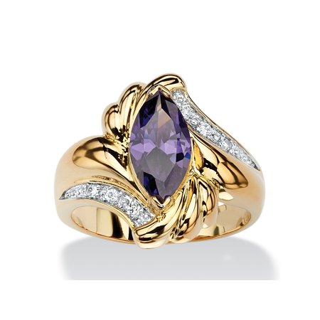 2.05 TCW Marquise-Cut Simulated Purple Amethyst Bypass Cocktail Ring 14k Gold-Plated - Gold Amethyst Bypass Ring