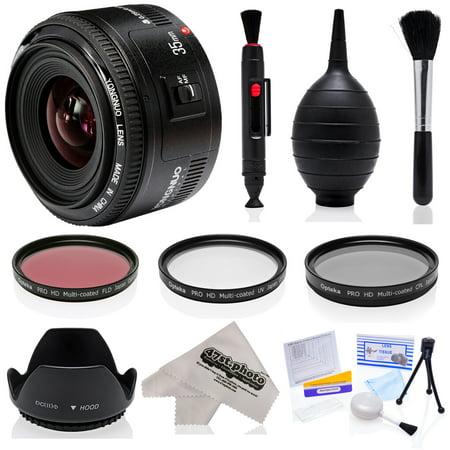 Yongnuo 35mm f/2 AF HD Full Frame Prime Lens with Hood, Filters, Microfiber, Blower, Brush, Lens Pen for Canon EOS 80D, 70D, 60D, 7D, 6D, 5D, T6i, T6s, T6, T5i, T5, T4i, T3i, T3 Digital SLR Cameras